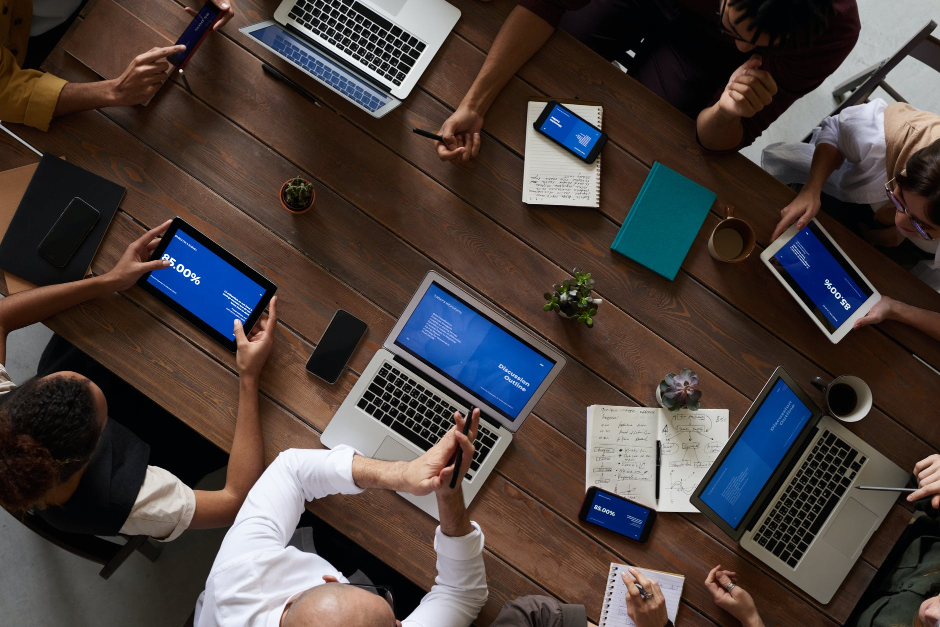 birds-eye-view-of-colleagues-at-a-desk